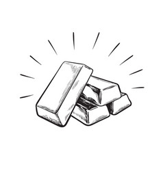 sketch gold bar ingots black and white vector image