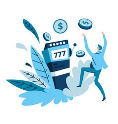 Slot machines and money win gambling and casino vector