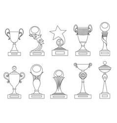 Sports trophies and awards silhouettes set for vector