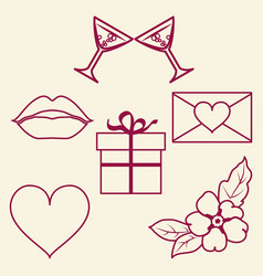 St valentine day collection of line signs vector