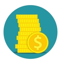 Stack of Gold coins dollar vector