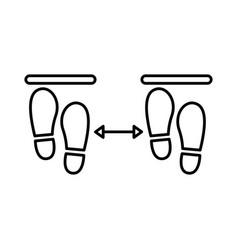 Steps prints social distance line style vector