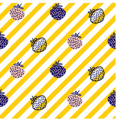 strawberry and stripes yellow seamless vector image