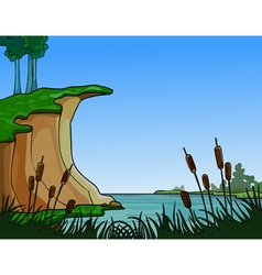 Summer landscape river in the reeds vector
