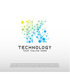 Technology logo with initial k letter network vector