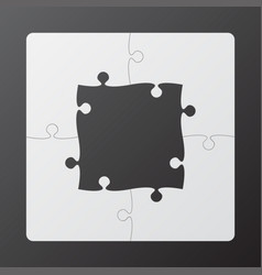 The grey frame background puzzle jigsaw banner vector