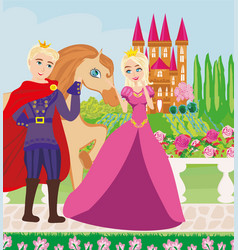 the princess and the prince in a beautiful garden vector image