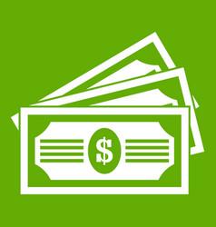 three dollar bills icon green vector image