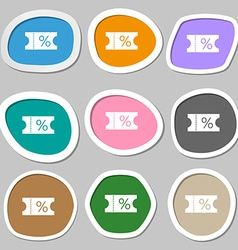 ticket discount icon sign Multicolored paper vector image