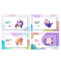 Tiny characters signing loan contract landing page vector