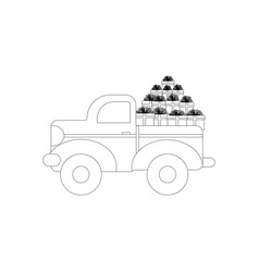 truck with presents coloring page vector image