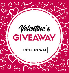 Valentines day giveaway card for contest vector