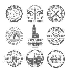 Vape shop set nine vintage black emblems vector