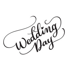Wedding day text on white background vector