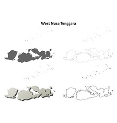 West Nusa Tenggara outline map set vector