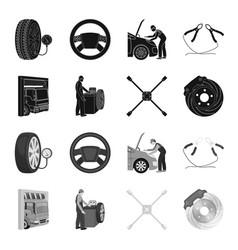 Wheel balancing spanner and brake disc black vector