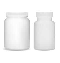 white plastic supplement bottles sport jar vector image