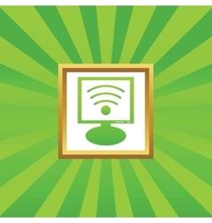 Wi-Fi monitor picture icon vector