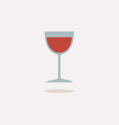 wine glass icon with shadow on a beige background vector image