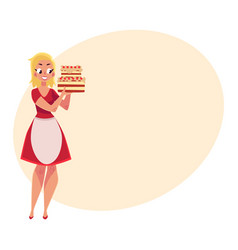 woman in white apron holding layered birthday vector image