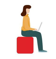 working woman sitting with a computer social vector image