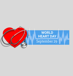 world heart day concept banner cartoon style vector image