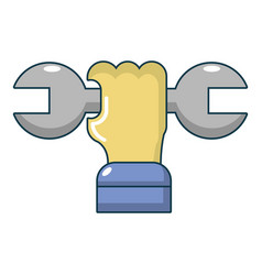 wrench in hand icon cartoon style vector image