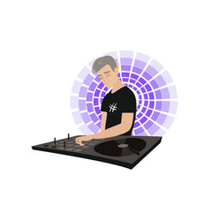 Young dj with hand on desk mixing music with vector