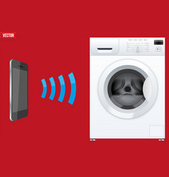 controlling washing machine with smartphone vector image