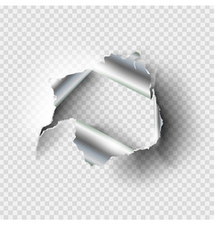 ragged hole torn in ripped metal vector image