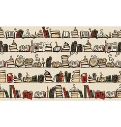Seamless pattern with books on bookshelves sketch vector image