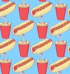 Sketch hotdog and soda in vintage style vector image