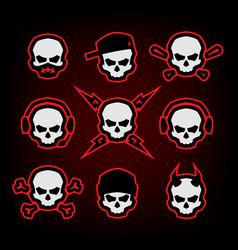 skull logo set on a dark background vector image