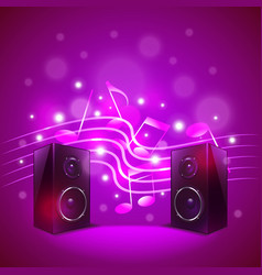 Speakers on colorful blur background vector image