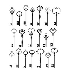 vintage antique keys black silhouettes isolated vector image