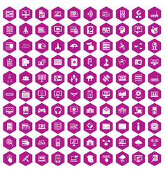 100 database and cloud icons hexagon violet vector image vector image