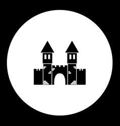 castle with towers and gate simple black icon vector image vector image