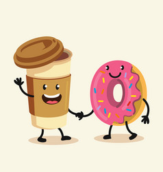 funny cartoon characters coffee and donut vector image vector image