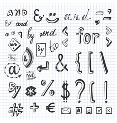 hand drawn set with social media sign and symbol vector image