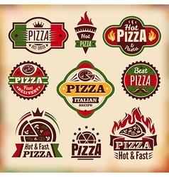 Set of vintage styled pizza labels vector image
