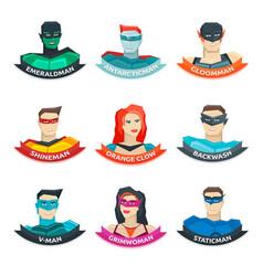 Superhero avatars collection vector