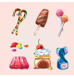 sweets and cookies set in cartoon style vector image