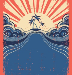 Tropical background with palms and sun on grunge vector image vector image