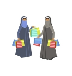 Two Women In Muslim Outfit In Shopping Mall vector image vector image