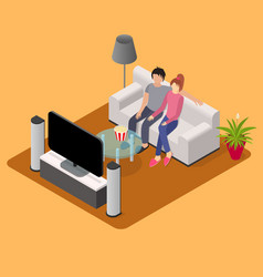 young loving couple watching tv isometric view vector image