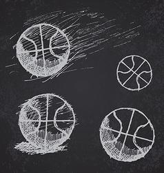 Basketball ball sketch set on blackboard vector image