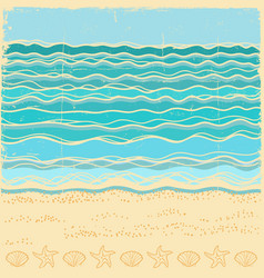 beach scenevintage sea landscape with blue waves vector image vector image
