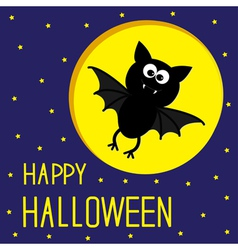Flying bat Starry sky and moon Halloween card vector image