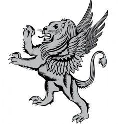 heraldic symbol lion with wings vector image