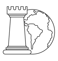 world planet and chess rook icon outline style vector image